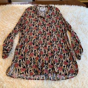 FLAX Shirt Dress Tunic Button Down Floral Print